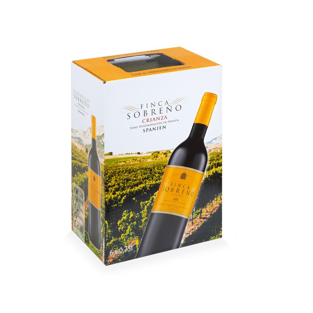 Caja de vino 6 botellas con solapa extraíble