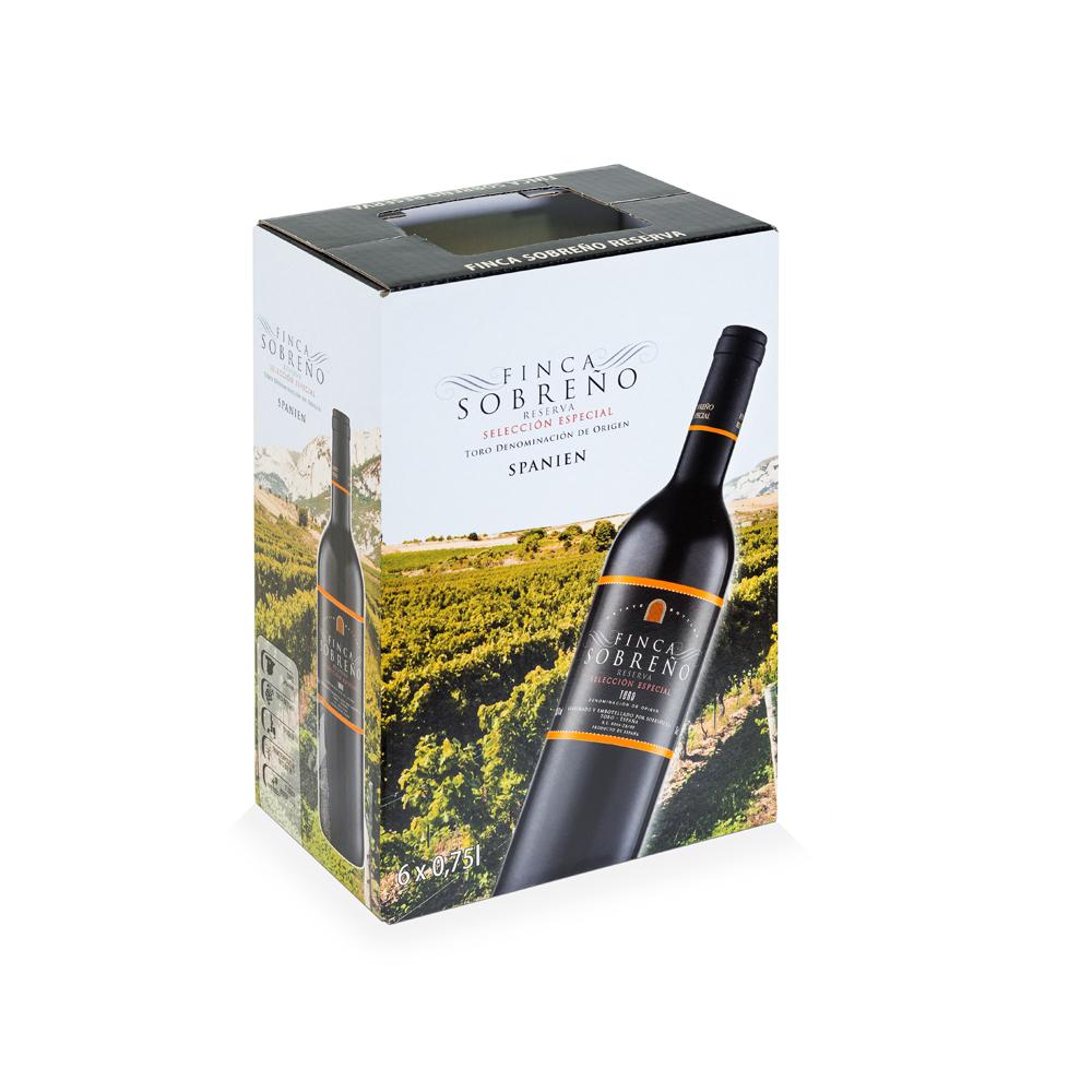 Caja embalaje de vino 6 botellas con solapa extraíble