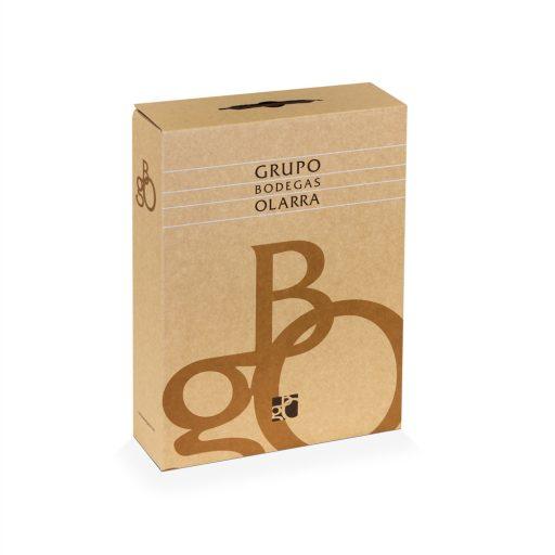 Estuche cartón kraft de 3 botellas de vino