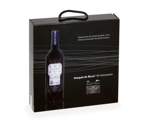 Estuche de vino en cartón compacto con solapa
