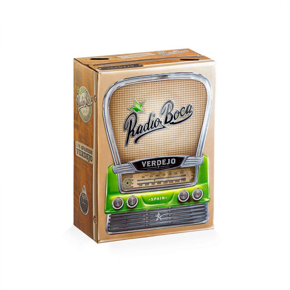 Caja Bag in Box de cartón con asa de plástico Radio Boca