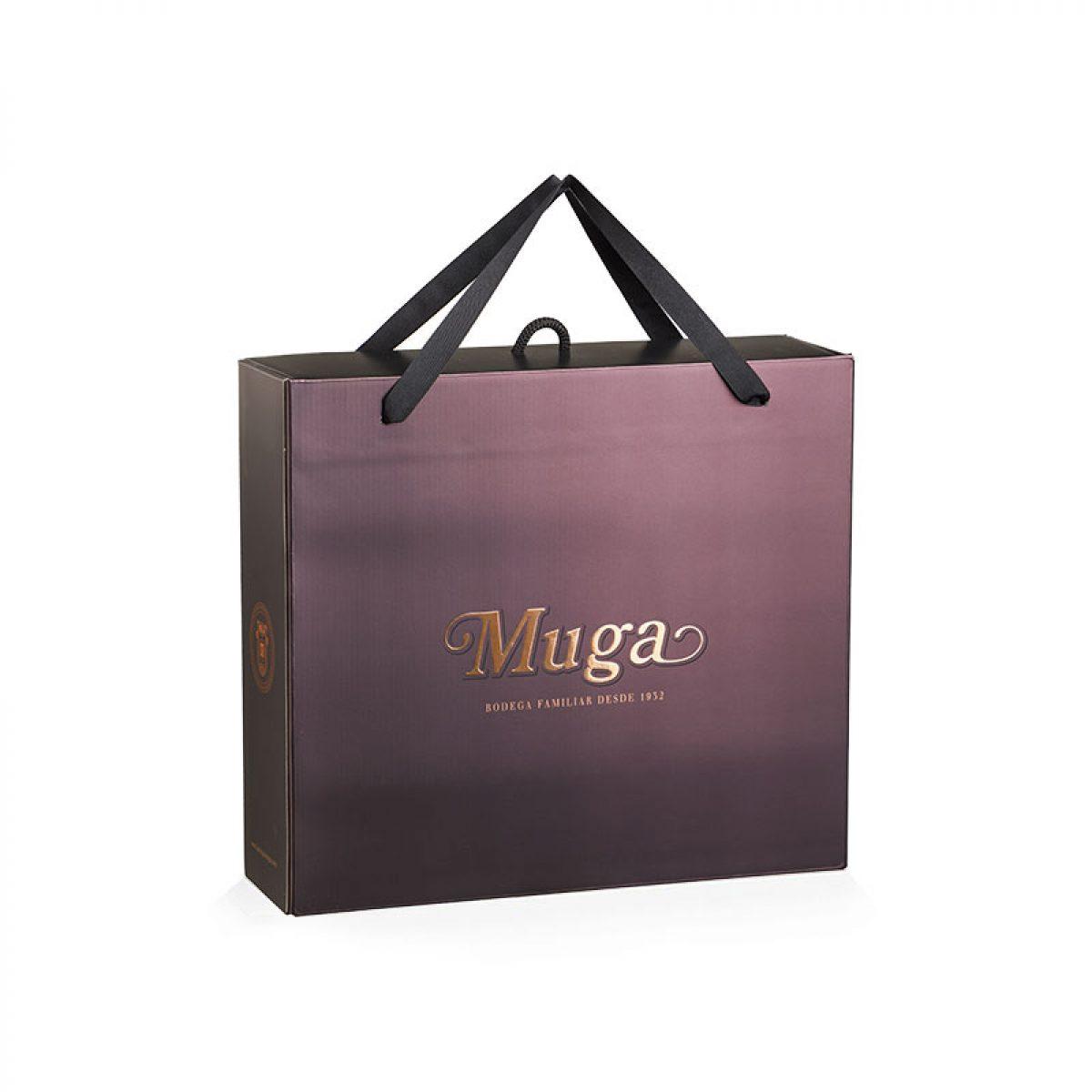 Estuche promocional de vino y copas de regalo con asas de algodón Muga